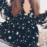 Cupshe Starry Sky Plunging Chiffon Dress