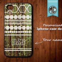 Personalized iPhone Case - Plastic or Silicone Rubber Monogram iPhone 4 4S Case Cover - K010