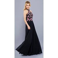 Black Embroidered Bodice Halter Open Back Long Formal Dress