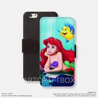 Little mermaid princess iPhone Samsung Galaxy leather wallet case cover 075