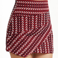 Burgundy Crochet Asymmetric Skirt