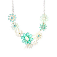 Mint and Ivory Glitter Stone Flower Bouquet Statement Necklace