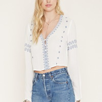 Button-Front Embroidered Top