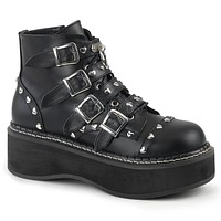 "Emily 315 Goth Black Heart Stud Multiple Strap 2"" Platform Ankle Boot  6-12"