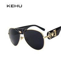 KEHU Fashion Women Sunglasses Brand Designer Metal Leather Decorate Frame Glasses Mirror Lens K9066