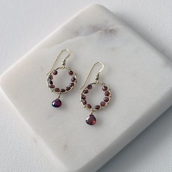 Garnet Wreath Drop Earrings