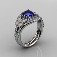 14KT White Gold Diamond Leaf and Vine Blue Sapphire Wedding Ring,Engagement Ring NN117SS-14KWGDBS Nature Inspired Jewelry