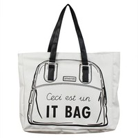 JAVOedge French It Bag Canvas Shoulder Tote Bag with Zipper Closure and Free Travel Cosmetic Bag / Organizer Bag