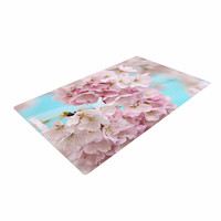 """Sylvia Cook """"A Pastel Spring"""" Pink Floral Woven Area Rug"""