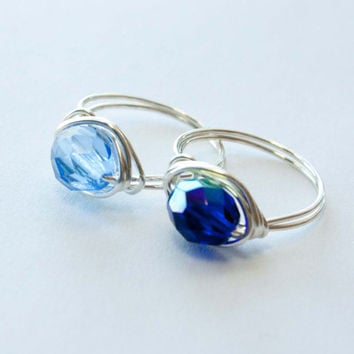 Blue Crystal Wire Wrapped Ring, Bridesmaid Jewelry, Gifts under 10