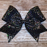 """3"""" Silver Sequin and Black Cheer Bow"""