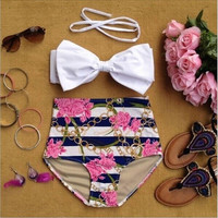 Women Vintage High Waist Bikini Floral Print Big Bow Swimsuit Push Up Pin Up Swimwear = 1955876996