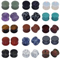 Longbeauty 15 Pair Natural Mix Stone Flared Fresh Tunnels Ear Plugs Expander Piercing Gauges kit 10MM