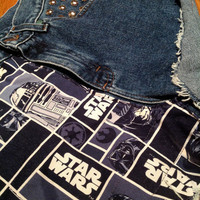 Star Wars Fabric High Waisted Shorts Studs ANY SIZE Galaxy Sci Fi r2d2  c3po darth vader