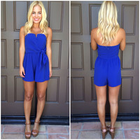 Wired In Strapless Romper - ROYAL BLUE