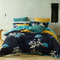 Soraya Black Cotton Printed Quilt Cover Set OR Accessories by Bianca