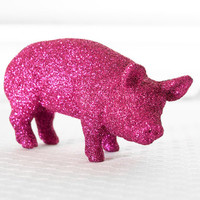 Hot Pink Pig Farm House Table Decoration for Holiday Entertaining Glitter Tablescapes for Birthdays, Showers, and Wedding Centerpiece