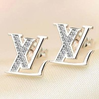 LV Louis Vuitton Women's Classic Letter Earrings Personalized Earrings