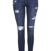 Tall MOTO Authentic Ripped Skinny Jeans - Dark Stone