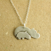 Hippo Necklace Mother and Baby Fine Silver Sterling by Dragonfly65