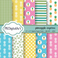 """Pineapple Digital Paper - """"Pineapple Express""""  patterns backgrounds, projects, design, scrapbooking"""