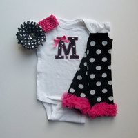 Monogram Onesuit and Leg Warmer Personalized Baby Girl Gift Set Black White Polka Dot and Hot Pink