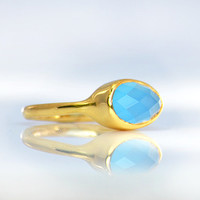 Faceted Blue Chalcedony 18K Vermeil Gold  or Sterling Silver ring - teardrop peardrop shape stacking bezel set ring
