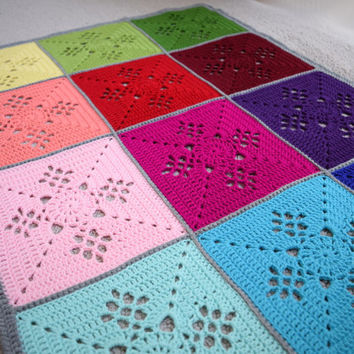 Baby blanket with rainbow crochet squares, pram blanket, stroller blanket, Ready to ship