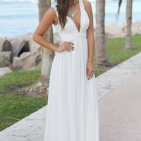 Ivory V-Neck Maxi Dress with Pleated Top