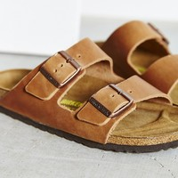 Birkenstock Antique Brown Leather Arizona Slide Sandal - Urban Outfitters
