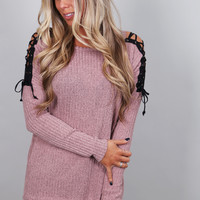 Zip Your Lips Knit {Mauve}