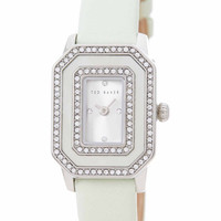 Ted Baker London Rectangular Dial Leather Strap Watch