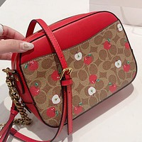 COACH New fashion pattern cherry leather shoulder bag women Red