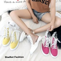 Women Casual Ankle Lace Up PU Waterproof Colorful Boot Shoes