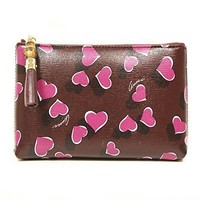 Gucci 338815 Purple Leather Heart Zip Cosmetic Case Pouch