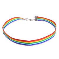 Gay Pride Rainbow Choker Necklace LGBT Gay and Lesbian Pride Lace Chocker Ribbon Collar with Pendant Jewelry