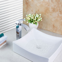 Countertop Square White Ceramic Wash Basin With Brass Polished Chrome Faucet Set