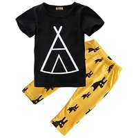 2pcs born Kids Baby Boy children clothing set Black short Sleeve T-shirt Tops+Yellow Pants Outfits Set