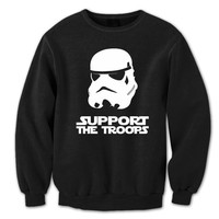 SUPPORT The Troops - funny hip cool star wars parody stormtrooper storm trooper movie jedi retro new - Unisex Black Sweatshirt DT0066