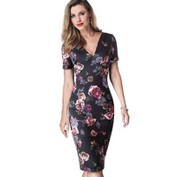 Women Elegant Slim Work Office Business Party Dress Vintage Floral Print Bodycon Summer Pencil Dress EB447