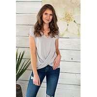 Coffee Shop Talk Twist Modal Soft Tee : Cloud