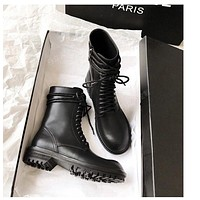 Ann Demeulemeester  Trending Women's Black Leather Side Zip Lace-up Ankle Boots Shoes High Boots