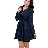 Blue Button Up Belted Trench Coat