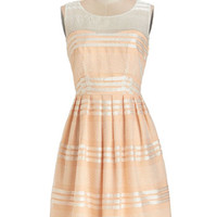 ModCloth Pastel Mid-length Sleeveless A-line Fanciful Flair Dress in Peach