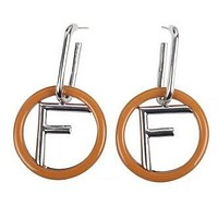 FENDI Popular Women Personality F Letter Circle Pendant Earrings Accessories Jewelry Brown