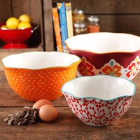 The Pioneer Woman Flea Market Scalloped Edge Serving Bowl Set, 3-Piece - Walmart.com