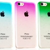 iPhone 5C Case,OMIU(TM) 3 Pcs Ultra Slim Clear Transparent Waterdrop Hard Back Case Cover for Apple iPhone 5C(Light Blue+Pink+Green)