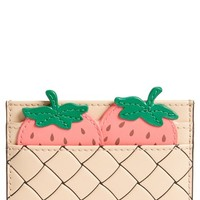 kate spade new york picnic strawberry basket leather card holder | Nordstrom