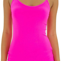 Neon Pink Seamless Basic Nylon Tank Top