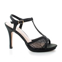 Marcie28 Black Lace By Blossom, Lace & Rhinestone T-Strap Sling back Stiletto Sandals
